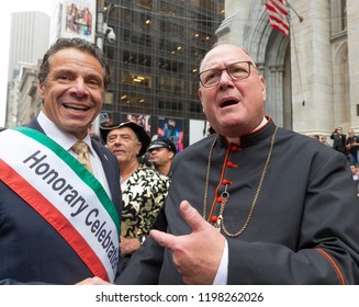New York, NY - October 8, 2018: Governor Andrew Cuomo, Cardinal Timothy Dolan attend Columbus Day parade along Fifth Avenue in Manhattan
