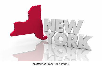 New York NY Red State Map Word 3d Illustration