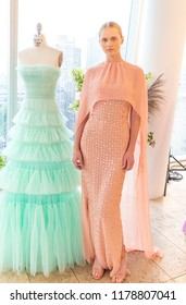 New York, NY - Sep 10, 2018: Model Kate Olthoff shows off dress by designer J. Mendel new collection presentation during New York Fashion week Spring/Summer 2019 at Standard East Village Penthouse