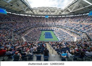 New York NY - Sep 2 2018: View of Arthur Ashe Stadium during US Open 2018 4th round game between Rafael Nadal of Spain & Nikoloz Basilashvili of Georgia at USTA Billie Jean King National Tennis Center