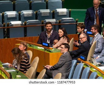 New York NY - Sep 24 2018: New Zealand Prime Minister Jacinda Ardern, Clarke Gayford & daughter Neve Te Aroha Ardern Gayford attend Nelson Mandela Peace Summit at UN GA 73rd session at UN Headquarters