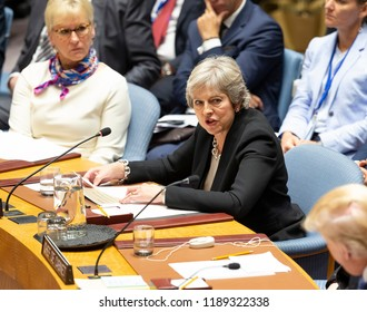 New York, NY - Sep 26, 2018: United Kingdom Prime Minister Teresa May addresses Security Council meeting on Non-proliferation of WMD presided by President of US Donald Trump at UN Headquarters