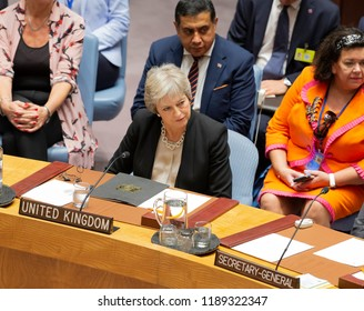 New York, NY - Sep 26 2018: United Kingdom Prime Minister Teresa May attends Security Council meeting on Non-proliferation of Weapons of Mass Destruction presided by President of US Donald Trump at UN