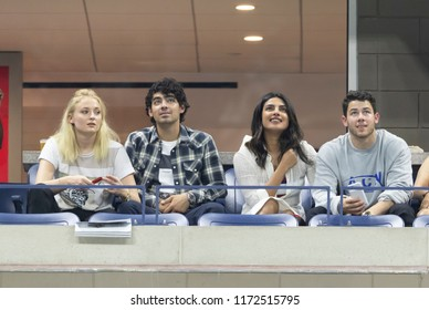 New York, NY - Sep 4, 2018: Sophie Turner, Joe Jonas, Priyanka Chopra, Nick Jonas attend US Open 2018 quarterfinal match between Rafael Nadal of Spain & Dominic Thiem of Austria at USTA Tennis Center
