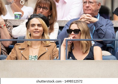 New York, NY - Sep 7, 2019: Cara Delevingne, Ashley Benson attend US Open womens final between Serena Williams (USA) & Bianca Andreescu (Canada) at Billie Jean King Tennis Center