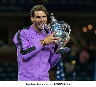 New York, NY - Sep 8, 2019: Rafael Nadal (Spain) poses with trophy after winning mens final match at US Open Championships against Daniil Medvedev (Russia) at Billie Jean King National Tennis Center