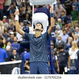 New York, NY - Sep 9, 2018: Novak Djokovic of Serbia celebrates victory in men's single final of US Open 2018 against Juan Martin del Potro of Argentina at USTA Billie Jean King National Tennis Center