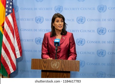 New York, NY - Sept 20, 2018: Ambassador Nikki Haley US Permanent Representative to the United Nations briefs on the US priorities for the 73rd UN General Assembly High-Level Week at UN Headquarters