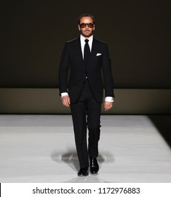 NEW YORK, NY - September 05, 2018: Designer Tom Ford walks the runway at the Tom Ford Spring Summer 2019 fashion show during New York Fashion Week