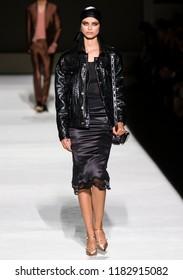 NEW YORK, NY - September 05, 2018: Birgit Kos walks the runway at the Tom Ford Spring Summer 2019 fashion show during New York Fashion Week