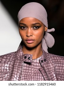 NEW YORK, NY - September 05, 2018: Blesnya Minher walks the runway at the Tom Ford Spring Summer 2019 fashion show during New York Fashion Week
