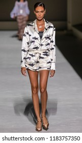NEW YORK, NY - September 05, 2018: Joan Smalls walks the runway during rehearsal for the Tom Ford 2019 Spring Summer fashion show during New York Fashion Week