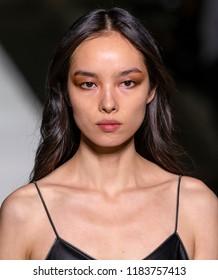 NEW YORK, NY - September 05, 2018: Fei Fei Sun walks the runway during rehearsal for the Tom Ford 2019 Spring Summer fashion show during New York Fashion Week