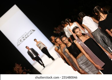 NEW YORK, NY - SEPTEMBER 05: Models walk the runway finale at the Project Runway (Alexander Knox) show during MBFW Spring 2015 at Lincoln Center on September 5, 2014 in NYC