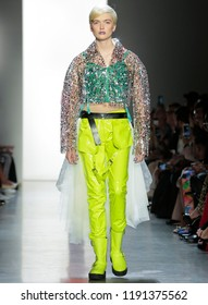NEW YORK, NY - September 06, 2018: Ruth Bell walks the runway at the Jeremy Scott Spring Summer 2019 fashion show during New York Fashion Week
