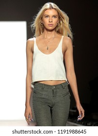 NEW YORK, NY - September 06, 2018: Stella Maxwell walks the runway during rehearsal for the Jeremy Scott Spring Summer 2019 fashion show during New York Fashion Week
