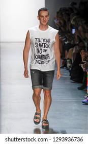 NEW YORK, NY - SEPTEMBER 06: Designer Jeremy Scott walks the runway wearing Jeremy Scott Spring 2019 at Gallery I at Spring Studios on September 6, 2018 in New York City.