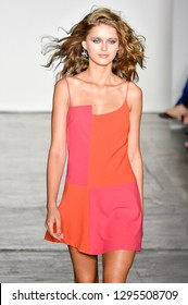 NEW YORK, NY - SEPTEMBER 06: A model walks the runway during the Mary Kay at Nicole Miller Spring/Summer 2019 fashion show at Industria Studios on September 6, 2018 in New York City.