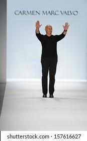 NEW YORK, NY - SEPTEMBER 06: Designer Carmen Marc Valvo walks the runway at the Carmen Marc Valvo Spring 2014 fashion show during Mercedes-Benz Fashion Week on September 6, 2013 in New York City.