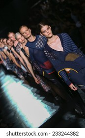 NEW YORK, NY - SEPTEMBER 06: Models walk the runway finale at the Prabal Gurung fashion show during Mercedes-Benz Fashion Week Spring 2015 on September 6, 2014 in New York City.