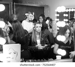 NEW YORK, NY - September 06, 2017: Models prepare backstage for the Pamella Roland Spring Summer 2018 fashion show during New York Fashion Week Women's