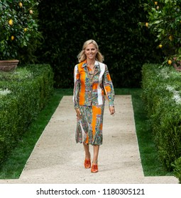 NEW YORK, NY - September 07, 2018: Designer Tory Burch walks the runway at the Tory Burch Spring Summer 2019 fashion show during New York Fashion Week