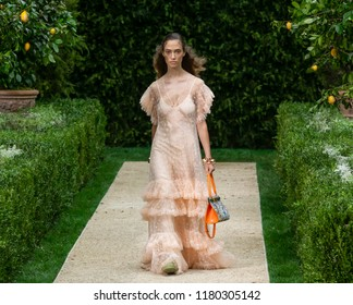 NEW YORK, NY - September 07, 2018: Sophie Koella walks the runway at the Tory Burch Spring Summer 2019 fashion show during New York Fashion Week