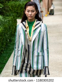 NEW YORK, NY - September 07, 2018: Hoyeon Jung walks the runway at the Tory Burch Spring Summer 2019 fashion show during New York Fashion Week
