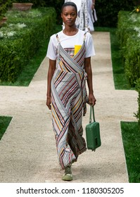 NEW YORK, NY - September 07, 2018: Mayowa Nicholas walks the runway at the Tory Burch Spring Summer 2019 fashion show during New York Fashion Week