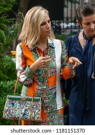 NEW YORK, NY - September 07, 2018: Designer Tory Burch supervises the preparation for the Tory Burch Spring Summer 2019 fashion show during New York Fashion Week