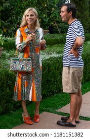 NEW YORK, NY - September 07, 2018: Designer Tory Burch and boyfriend Pierre-Yves Roussel pose before the Tory Burch Spring Summer 2019 fashion show during New York Fashion Week