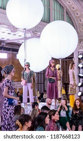 NEW YORK, NY - September 07, 2018: Models pose during the runway at the Kate Spade Spring Summer 2019 fashion show during New York Fashion Week