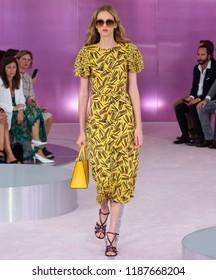 NEW YORK, NY - September 07, 2018: Sarah Berger walks the runway at the Kate Spade Spring Summer 2019 fashion show during New York Fashion Week