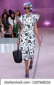 NEW YORK, NY - September 07, 2018: Aya Jones walks the runway at the Kate Spade Spring Summer 2019 fashion show during New York Fashion Week