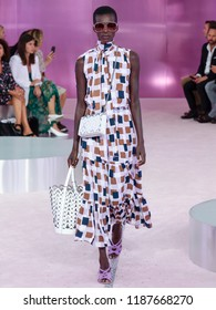 NEW YORK, NY - September 07, 2018: Barbra-Lee Grant walks the runway at the Kate Spade Spring Summer 2019 fashion show during New York Fashion Week