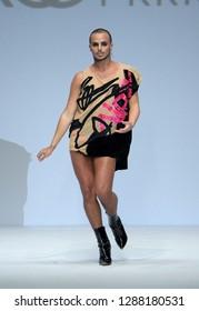NEW YORK, NY - SEPTEMBER 07: Yanis Marshall walks the runway during Marco Marco - September 2017 - New York Fashion Week on September 7, 2017 in New York City