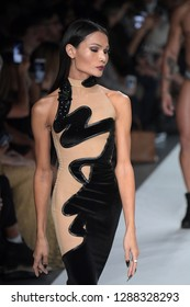 NEW YORK, NY - SEPTEMBER 07: Mimi Tao walks the runway during Marco Marco - September 2017 - New York Fashion Week on September 7, 2017 in New York City
