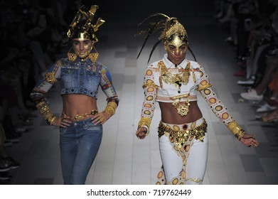 NEW YORK, NY - SEPTEMBER 07: models walk the runway at the Desigual Fashion Show during Spring 2018 New York Fashion Week: The Shows at Gallery 1, Skylight Clarkson Sq on September 7, 2017 in NYC.