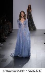 NEW YORK, NY - SEPTEMBER 07: A model walks the runway for Tadashi Shoji fashion show during New York Fashion Week on September 7, 2017 in New York City.