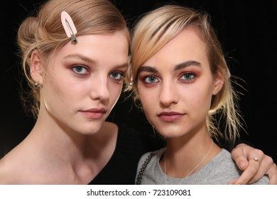 NEW YORK, NY - SEPTEMBER 07: Models posing backstage before the Brock Collection fashion show during New York Fashion Week on September 7, 2017 in New York City.