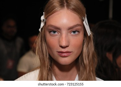 NEW YORK, NY - SEPTEMBER 07: A model posing backstage before the Noon By Noor fashion show during New York Fashion Week on September 7, 2017 in New York City.