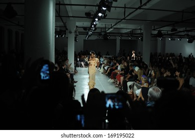 NEW YORK, NY - SEPTEMBER 08: A model walks the Zac Posen runway during Spring 2014 Mercedes-Benz Fashion Week on September 8, 2013 in New York City.