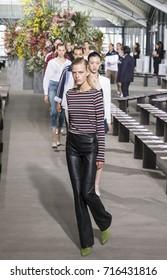 NEW YORK, NY - September 08, 2017: Line Kjaergaard walks the runway during rehearsal for the Jason Wu Spring Summer 2018 fashion show during New York Fashion Week
