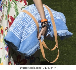 NEW YORK, NY - September 08, 2017: Emm Arruda (bag detail) walks the runway at the Tory Burch Spring Summer 2018 fashion show during New York Fashion Week