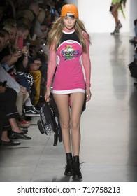NEW YORK, NY - September 08, 2017: Gigi Hadid walks the runway at the Jeremy Scott Spring Summer 2018 fashion show during New York Fashion Week