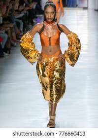 NEW YORK, NY - September 08, 2017: Aurel Haize Odogbo walks the runway at the Chromat Spring Summer 2018 fashion show during New York Fashion Week