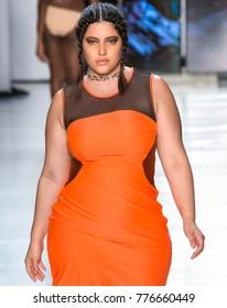 NEW YORK, NY - September 08, 2017: Denise Bidot walks the runway at the Chromat Spring Summer 2018 fashion show during New York Fashion Week