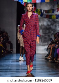 NEW YORK, NY - September 09, 2018: Lea Julian walks the runway at the Prabal Gurung Spring Summer 2019 fashion show during New York Fashion Week