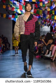 NEW YORK, NY - September 09, 2018: Bom Chan Lee walks the runway at the Prabal Gurung Spring Summer 2019 fashion show during New York Fashion Week