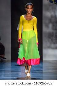 NEW YORK, NY - September 09, 2018: Joan Smalls walks the runway at the Prabal Gurung Spring Summer 2019 fashion show during New York Fashion Week